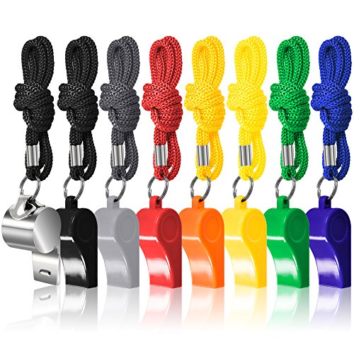 FineGood 7 Pack Plastic Coaches Referee Whistles with Lanyards, 1 Pcs Stainless Steel Metal one, Colorful Whistles for Football Sports Lifeguards Survival Emergency Training - Multi-Color