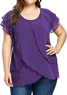 Women Casual Chiffon Plus Size Solid O-Neck T-Shirt Short Sleeve Ruffles Blouse Top