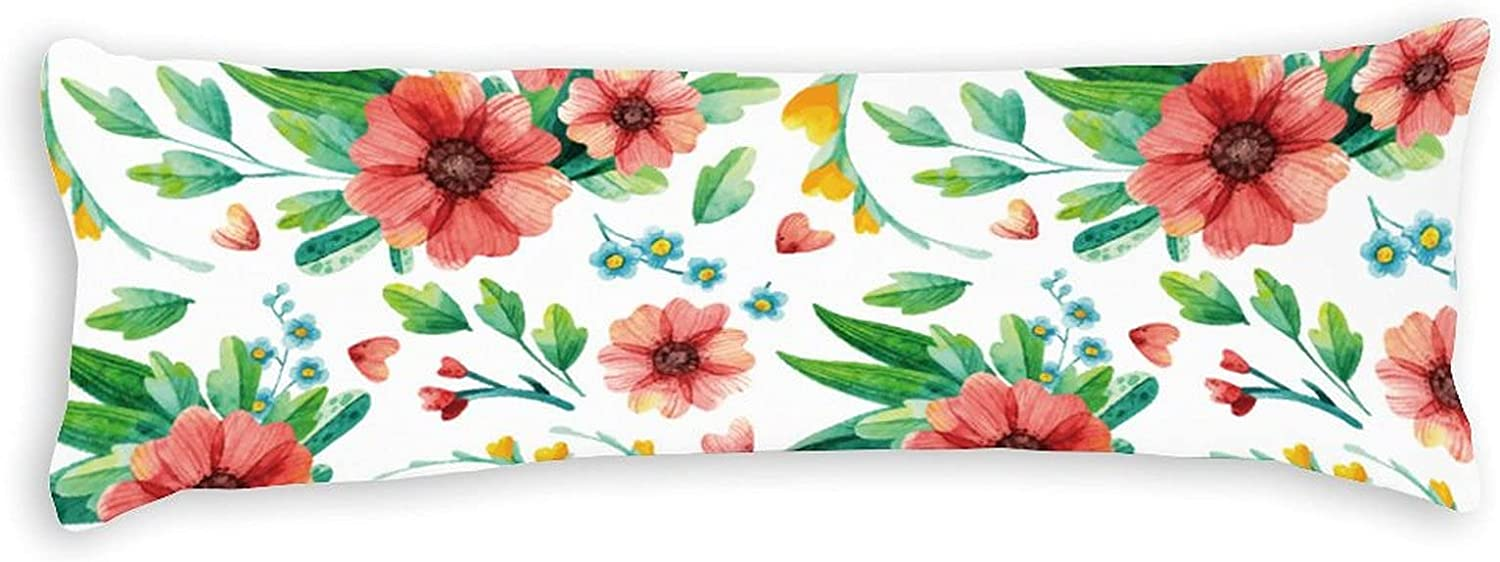 PotteLove Store Polyester Body Pillow Mesa Mall Case Blush Flow Red Leaves Green