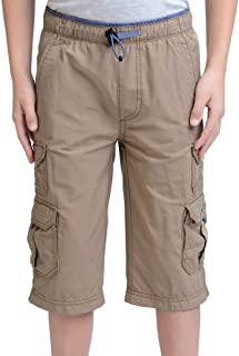 Boys' 100% Cotton Cargo Short with Pull On, Elastic Waist
