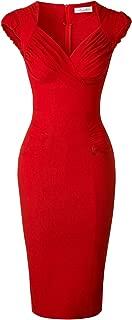 Lady's 50s Vintage V-Neck Cap Sleeve Pencil Dress