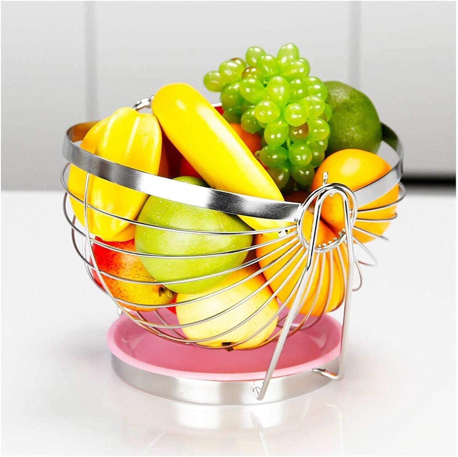 KISlink Panier de Fruits en Acier Inoxydable Salon Bol de Fruits Panier de Fruits Panier de vidange Plaque de Bonbons pour Panier de Drainage