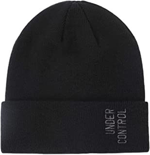 Genovega Knitted Acrylic Beanie Hat with Embroidery Letters, Cuffed Skull Hat