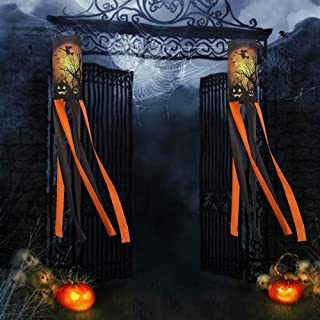 Amandir 2Pack 40 Inch Halloween Windsock Flag, Pumpkin Ghost Witch Windsock Hanging Halloween Decorations Outdoor Outside for Front Yard Patio Lawn Garden Party Decor
