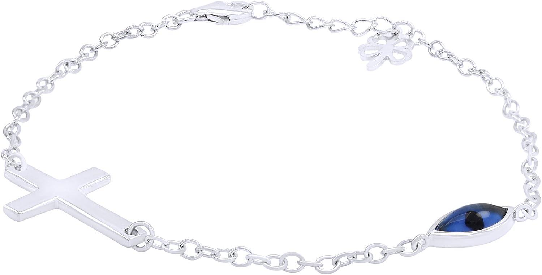 AFFY Unisex Delicate Evil Eye  Cross Clover Chain Bracelet in 9