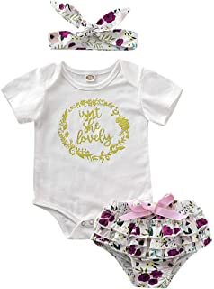 d98a050aa024 Honykids 3PCS Newborn Baby Girl Romper Jumpsuit Bodysuit +Pants  Shorts+Headband Outfit Set