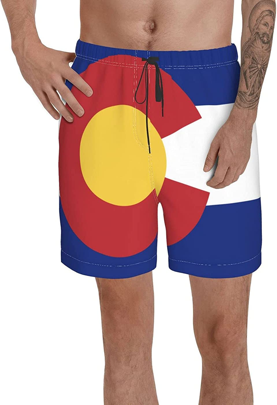 Colorado State Polyester Flag Men's 3D Printed Funny Summer Quick Dry Swim Short Board Shorts with