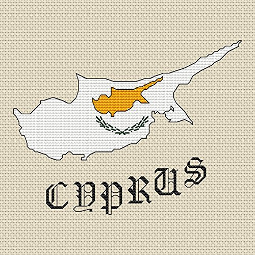 Cyprus Kaart & Vlag Cross Stitch Kit door Elite Designs