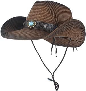 ウエスタンカウボーイハット 夏の西部のカウボーイばらばらの帽子MenStraw Cowgirl Party Costume Crimping Western Hat Sombrero Hombre Cowboy Hats For Men (色 : コーヒー, サイズ : 56-58)