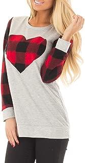 Womens Raglan Shirts 3/4 Sleeve Heart Shaped Plaid Baseball Tops Tunics Casual Blouses