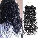 DAIRESS (6 Packs) 14Inch 35strands Wavy Senegalese Twist Crochet Hair Braids Wavy Ends Free Synthetic Hair Extensions Kanekalon Curly Crochet Twist Braiding Hair (#1B Black)