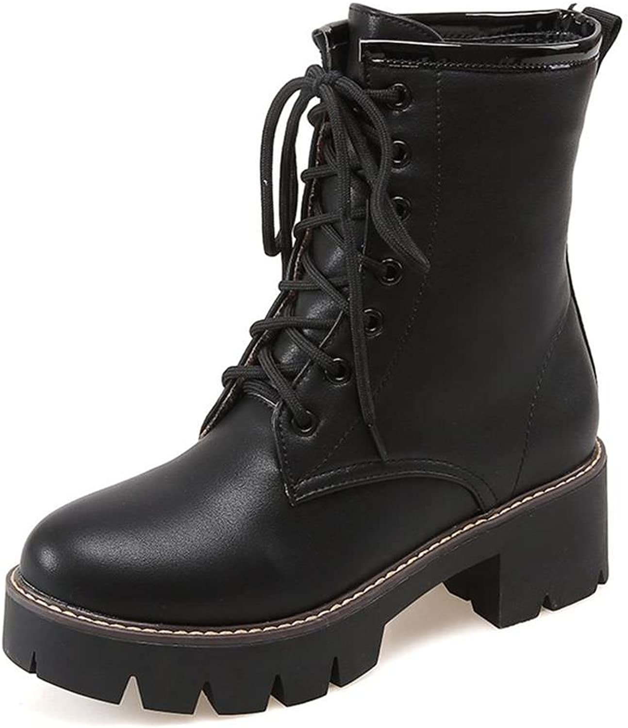 DecoStain Women's Embossed Leather Lace-Up Round Toe Mid Heel Ankle Combat Boots