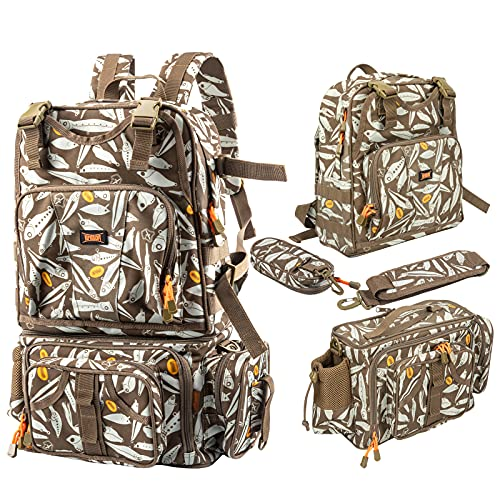 KINGDOM Fishing Tackle Backpack with 2 Fishing Rod Holders, Large Storage, Upgraded Version of...