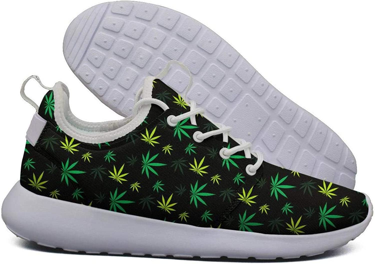 Hoohle Sports Womens Yellow Green Cannabis Patch Flex Mesh Roshe 2 Lightweight Cute Walking Jogging shoes