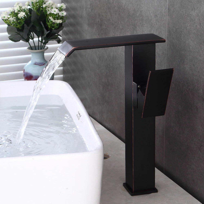 Bijjaladeva Wasserhahn Bad Wasserfall Mischbatterie Waschbecken WaschtischSchwarz Plus Hohe fllt Wasser Kalt Wasser Keramik Ventil Einloch Single Bad Waschtisch Armatur mit Griff