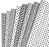 RUSPEPA Geschenkpapier Blatt - Klassische Schwarz-Weiß-Muster Für Geburtstag, Urlaub,...