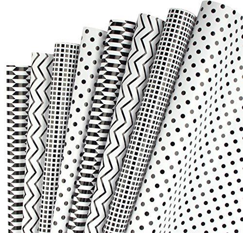 RUSPEPA Geschenkpapier Blatt - Klassische Schwarz-Weiß-Muster Für Geburtstag, Urlaub, Baby-Dusche-Geschenkpapier - 1 Rolle enthält 8 Blatt - 44.5 X 76 cm