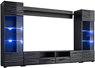 """MEBLE FURNITURE & RUGS Modica Modern Entertainment Center Wall Unit with LED Lights, 65"""" TV Stand"""