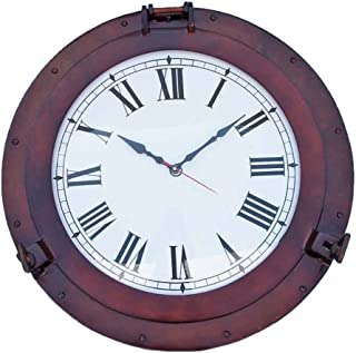 "Hampton Nautical Decorative Ship Porthole Marine Clock, 24"", Antique Copper"