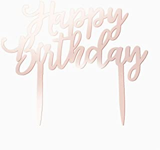 Birthday Cake Topper Rose Gold, Happy 21st 30th 40th 50th 60th Birthday Wedding Funny Banner Sticks