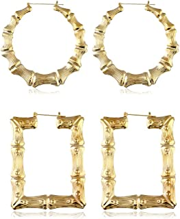 2 Pairs Large Bamboo Hoop Earrings Set Gold Plated Exaggerated Big Statement Hip-Hop Geometric Earrings for Women Girls