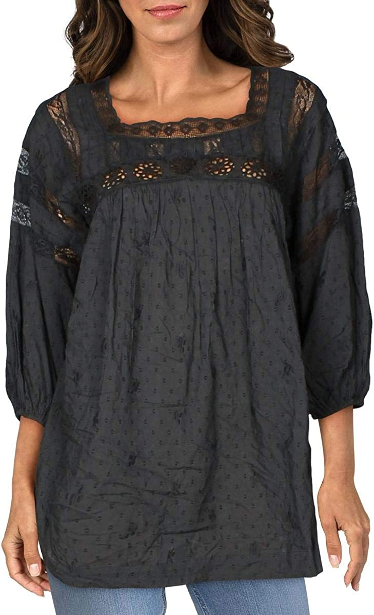 Free People Women's Azalea Lace Tunic in Washed Black Size