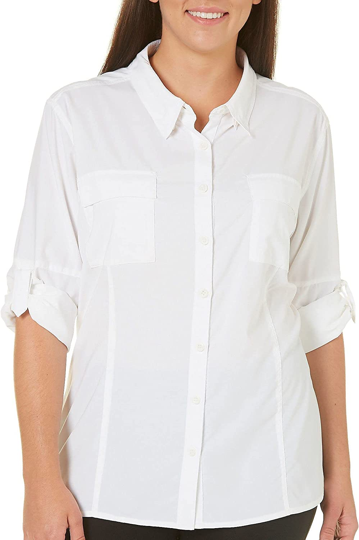 Reel Legends Plus Saltwater Button Down Shirt 1X White