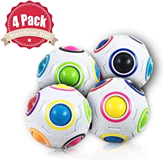CZC GIFT 4 Pack Magic Rainbow Ball Puzzle Speed Cube Ball Toy Brain Teaser with 11 Rainbow Colors