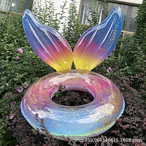 Mopoq 2021 new inflatable mermaid swimming ring wings blister ring fish tail sequins underarm ring colorful glitter floating ring fish tail 90CM