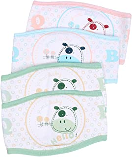 Trycooling 4PCS Cotton Baby Infant Umbilical Cord Belly Band Cartoon Double Layer Newborn Navel Belt (Random Style)