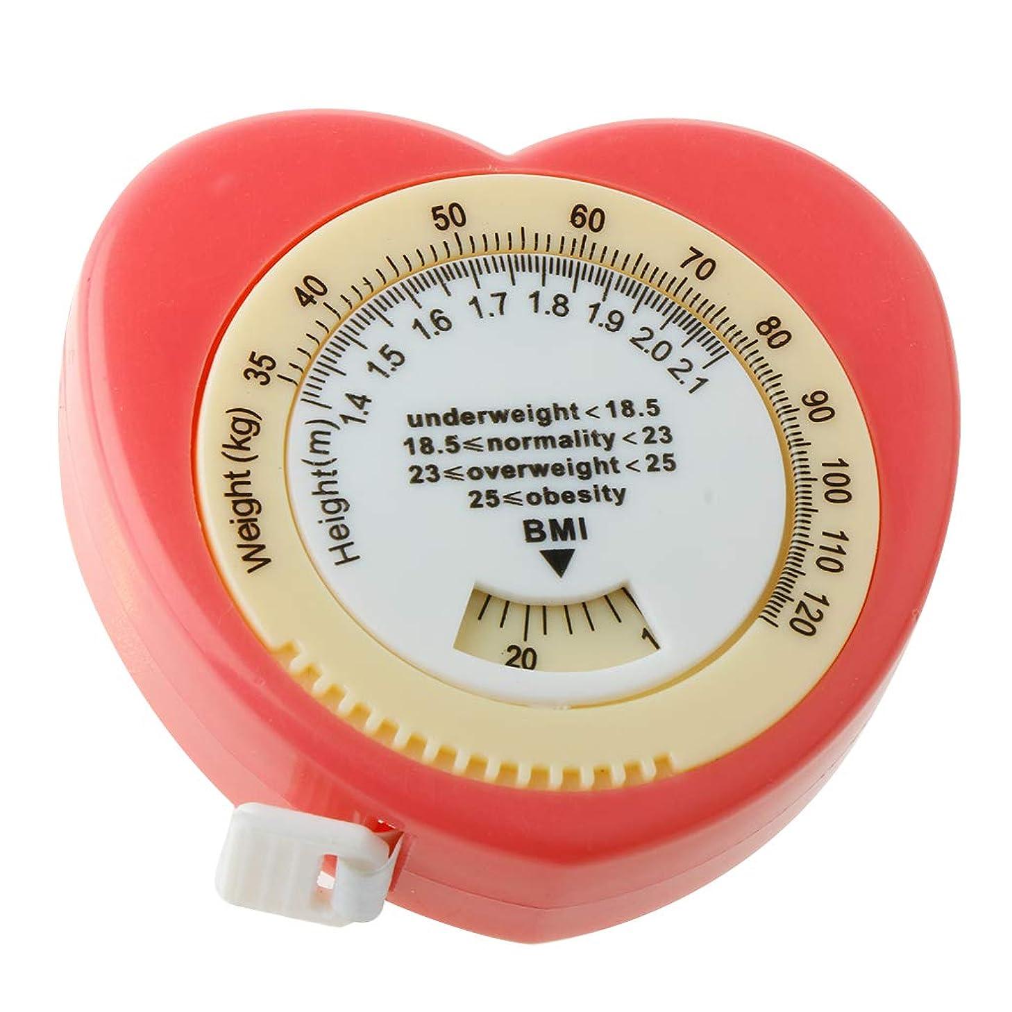 カーフはずサイズ1.5m ピンク 引き込み式 BMI 巻尺 体定規 計算ダイヤル付き 健康管理 ダイエット 体重を監視 体の肥満を評価