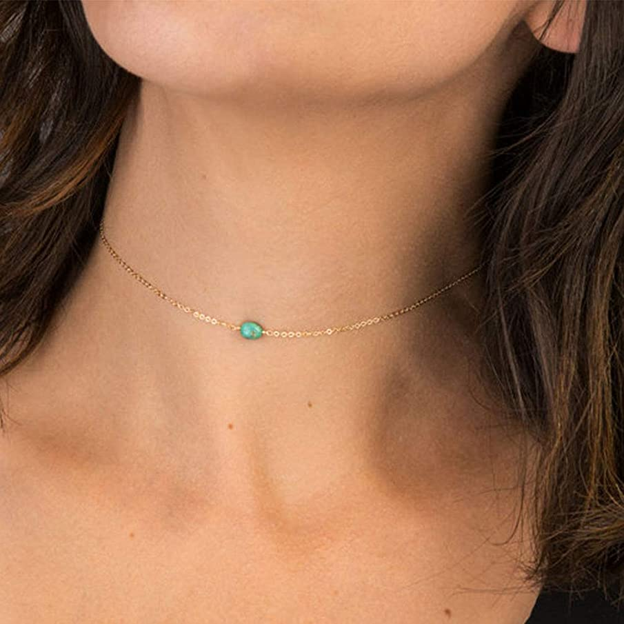 Yalice Dainty Turquoise Choker Necklace Chain Blue Short Necklaces Jewelry for Women and Girls (Gold)