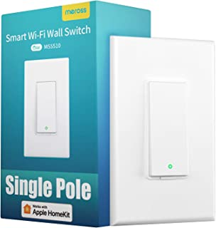 meross Smart Light Switch Works with Apple Homekit, Siri, Alexa and Google Assistant, 2.4Ghz WiFi Light Switch, Neutral Wire Required, Single Pole, Remote Control, Schedule, No Hub Needed