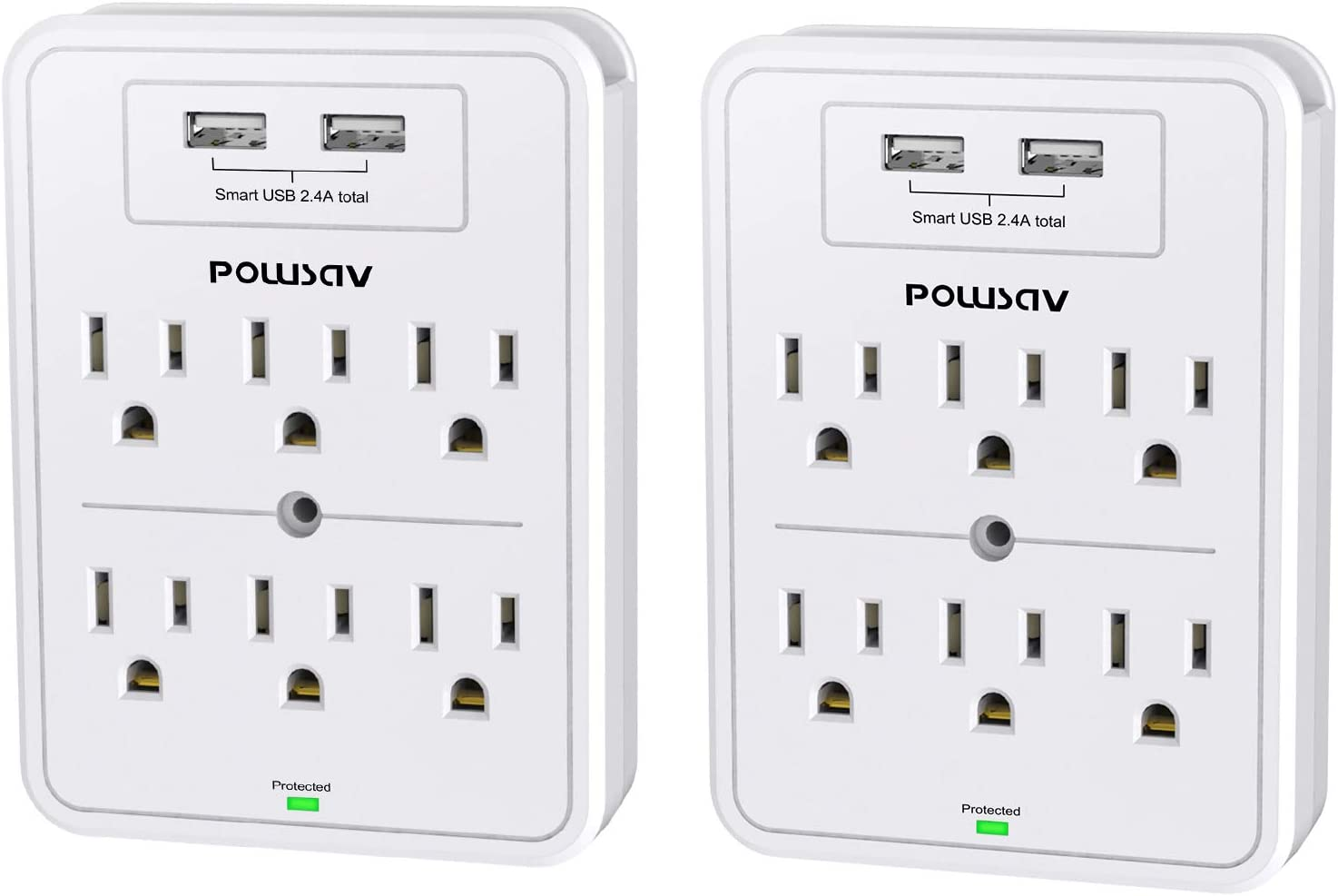 Multi Plug Outlet, Surge Protector, POWSAV USB Wall Charger with 2 USB Ports, 6-Outlet Extender and Top Phone Holder for Your Cell Phone, White, ETL Listed,2 Pack