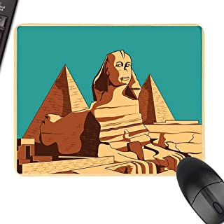 """Egyptian Wrist Comfort Mouse Pad Vintage Poster of Sphinx and Pyramids in Giza Ancient Famous Monument Cairo Natural Rubber Gaming Mouse Mat 23.6""""x15.7"""" Teal Pale Brown"""