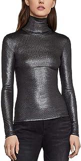Women's Metallic Knit Turtleneck