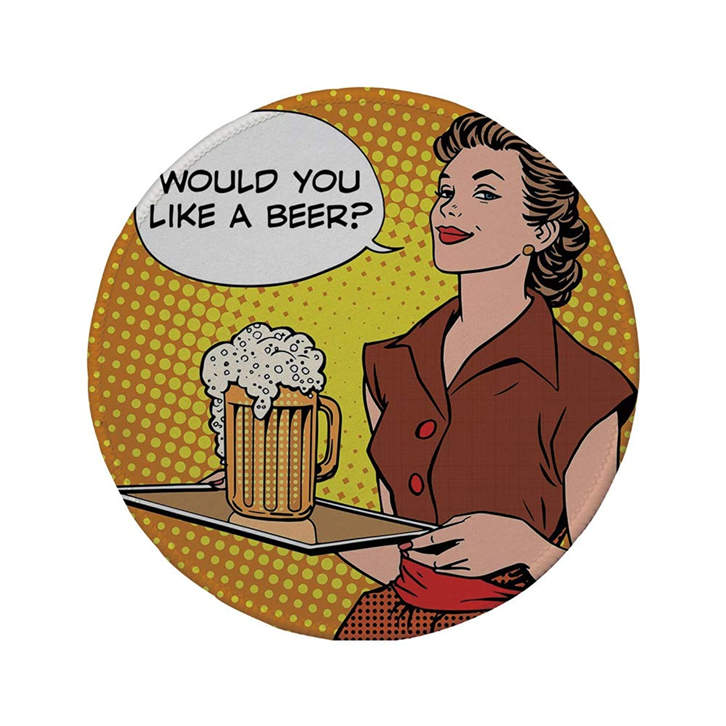 Non-Slip Rubber Round Mouse Pad,Man Cave Decor,The Waitress with Tray Saying Would You Like a Beer Comics Pop Art Retro Decorative,Multicolor,11.8