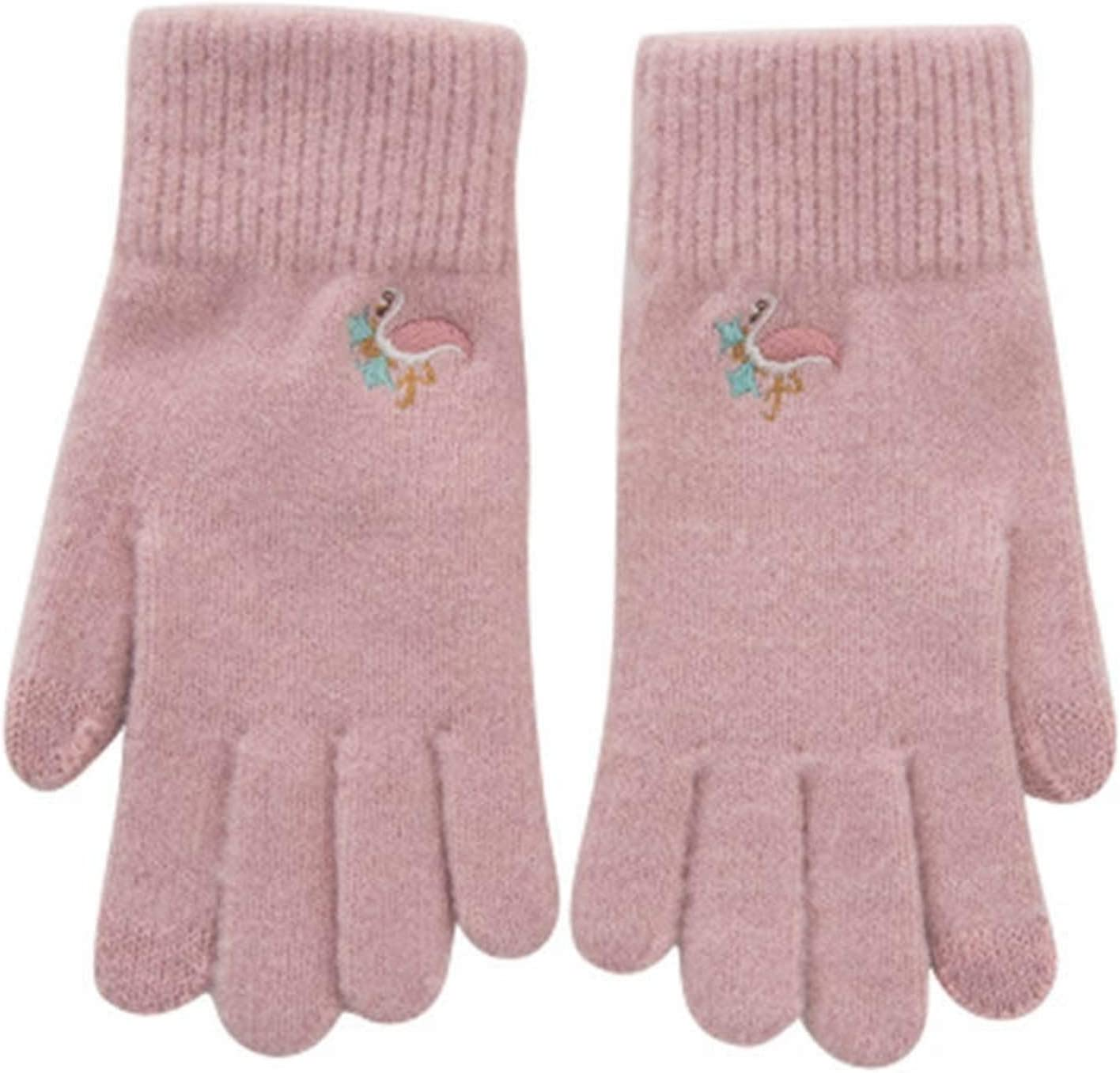 Women's Winter Knitted Embroidered Gloves Five Fingers Cute Pattern Warm Gloves (Color : A Pink)