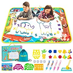 Painting Writing Doodle Board【Reusable 】——Be easy to use. Fill the magic pens with clear water and draw on the Aqua Drawing Mat. After 3-10 minutes, The doodle on this magical water painting pad magically disappears. Depending on the temperature and ...