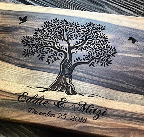Custom Family Olive Tree Personalized Engraved Cutting Board Wedding...