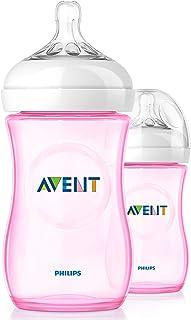 Philips AVENT Natural Feeding Bottle, 260ml, 2 Pack - Pink, SCF694/27