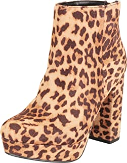 Cambridge Select Women's Retro 70s Chunky Platform Block High Heel Ankle Bootie