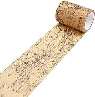 Academyus Vintage Washi Tape, Craft Decorative Masking DIY Adhesive Scrapbook Sticker Tape (World Map)