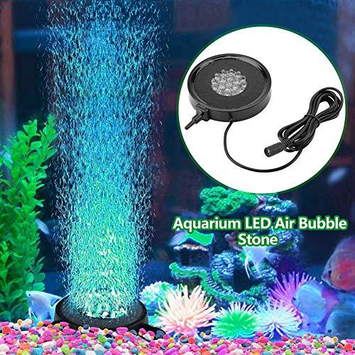 Aquarium Bubble Air Stone Wassergenerator mit LED-Lichtern, Booster, Luftpumpe mit Luftblase, Zubehör für Aquarium Fish Tank EU-Stecker 100-240 V