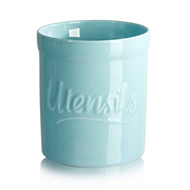 Sweese 811.102 Porcelain Utensil Holder, Utensil Crock - 6 x 7 Inches - Heavy Enough to Prevent Tipping Over, Turquoise