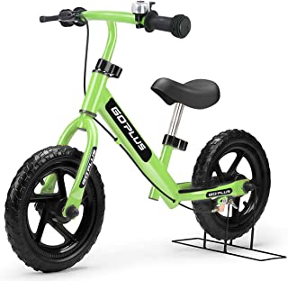 "Goplus 12"" Kids Balance Bike, No Pedal Bicycle w/Adjustable Bar and Seat, Brake, Bell Ring, Stand, for Ages 2 to 6 Years, Pre Bike Push Walking Bicycle"