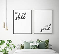 Wood Framed Sign 16x20'' Wooden Prints Printable Be Still My Soul Printable Art Set of 2 Above Bed Prints Bedroom Decor Be Still My Soul Posters Nursery Decor Wood Signs for Home Decor Quotes