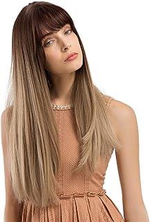 Rawdah Pelucas Mujer Pelo Natural Largo Corto Postizos Mujer Rubio Pelucas sintéticas largas del pelo del peinado del pelo recto para hermoso y generoso