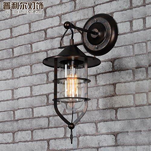 Lampe Murale verre personnalité américaine_creative restaurant coffee shop personnalité nordique d'allée en verre fer lampe murale dock, noir