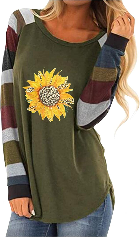 felwors Sweatshirt for Women,Womens Floral Printed Shirts Color Block Crewneck Long Sleeve Sweatshirts Casual Blouses